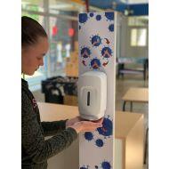 Desinfectie zuil compleet wit school met voetplaat en automatische dispenser voor handalcohol vulling + 4 stuks batterijen (433902.4)