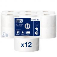 Tork Advanced toiletpapier mini jumbo 2-lgs wit 170 mtr x 10 cm pak à 12 rol (120280)