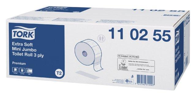 Tork Premium toiletpap mini jumbo 3-lgs wit 170 mtr x 10 cm pak à 12 rol/600 vel (110255)
